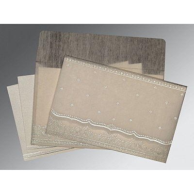 Ivory Wooly Foil Stamped Wedding Invitation : CD-8241A - IndianWeddingCards