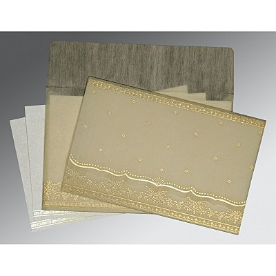 Ivory Wooly Foil Stamped Wedding Invitations : CW-8241B - IndianWeddingCards