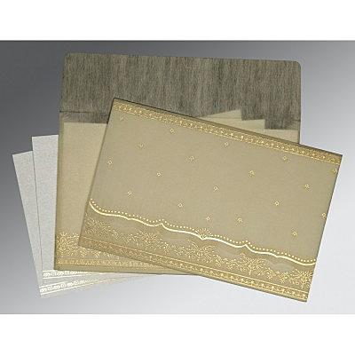 Ivory Wooly Foil Stamped Wedding Invitation : CW-8241B - IndianWeddingCards