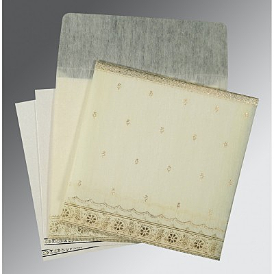Ivory Wooly Foil Stamped Wedding Invitations : CW-8242M - IndianWeddingCards