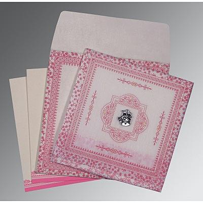 Ivory Wooly Glitter Wedding Card : CC-8205A - IndianWeddingCards