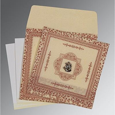 Ivory Wooly Glitter Wedding Card : CC-8205O - IndianWeddingCards