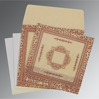 Ivory Wooly Glitter Wedding Card : CD-8205O - IndianWeddingCards