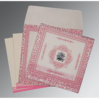 Ivory Wooly Glitter Wedding Card : CG-8205A - IndianWeddingCards