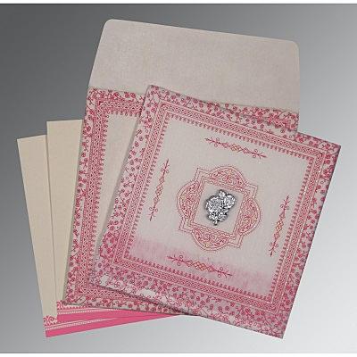 Ivory Wooly Glitter Wedding Card : CI-8205A - IndianWeddingCards