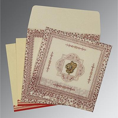 Ivory Wooly Glitter Wedding Card : CI-8205E - IndianWeddingCards