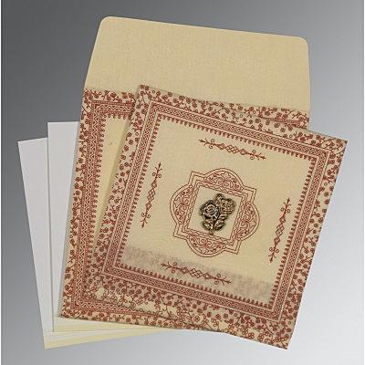 Ivory Wooly Glitter Wedding Card : CI-8205O - IndianWeddingCards