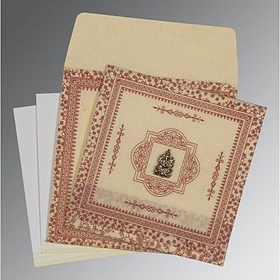 Ivory Wooly Glitter Wedding Card : CIN-8205O - IndianWeddingCards