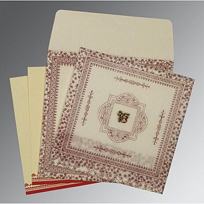 Ivory Wooly Glitter Wedding Card : CS-8205E - IndianWeddingCards