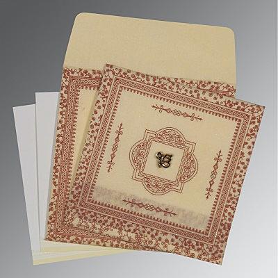 Ivory Wooly Glitter Wedding Card : CS-8205O - IndianWeddingCards
