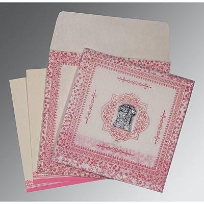 Ivory Wooly Glitter Wedding Card : CSO-8205A - IndianWeddingCards