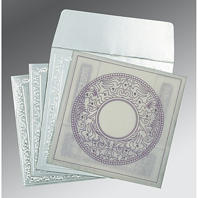 Ivory Wooly Screen Printed Wedding Card : CD-8214J - IndianWeddingCards