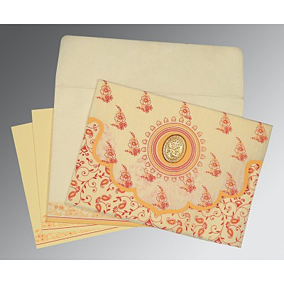 Ivory Wooly Screen Printed Wedding Invitation : CI-8207A - IndianWeddingCards
