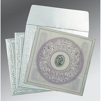 Ivory Wooly Screen Printed Wedding Card : CI-8214J - IndianWeddingCards