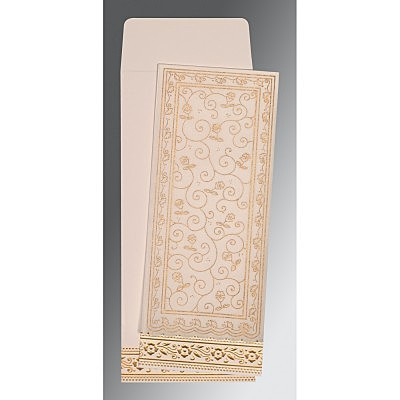 Ivory Wooly Screen Printed Wedding Invitation : CW-8220D - IndianWeddingCards
