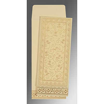Ivory Wooly Screen Printed Wedding Invitation : CW-8220I - IndianWeddingCards