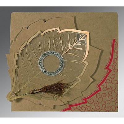 Khaki Handmade Cotton Floral Themed - Foil Stamped Wedding Card : CD-8219Q - IndianWeddingCards