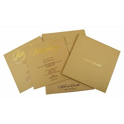 Khaki Matte Box Themed - Embossed Wedding Invitation : CI-1851 - IndianWeddingCards