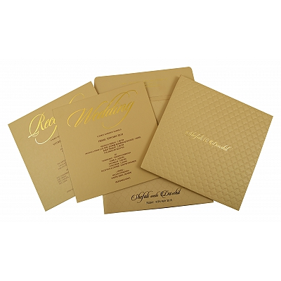 Khaki Matte Box Themed - Embossed Wedding Invitation : CW-1851 - IndianWeddingCards