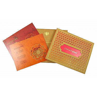 Khaki Matte Box Themed - Laser Cut Wedding Invitation : CS-1860 - IndianWeddingCards
