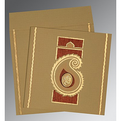 Khaki Matte Embossed Wedding Invitation : CI-1187 - IndianWeddingCards