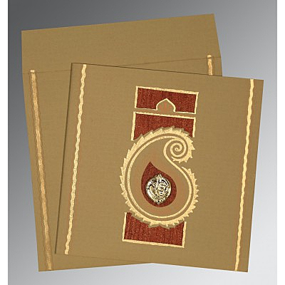 Khaki Matte Embossed Wedding Invitation : CS-1187 - IndianWeddingCards