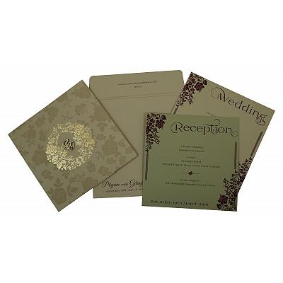 Khaki Matte Floral Themed - Foil Stamped Wedding Invitation : CG-1805 - IndianWeddingCards