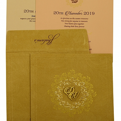Khaki Matte Floral Themed - Screen Printed Wedding Invitation : CI-1914 - IndianWeddingCards