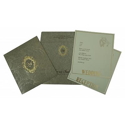Khaki Matte Foil Stamped Wedding Invitation : CC-1804 - IndianWeddingCards