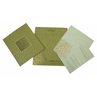 Khaki Matte Foil Stamped Wedding Invitation : CI-1810 - IndianWeddingCards