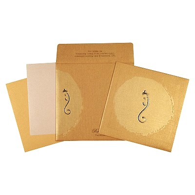 Khaki Matte Foil Stamped Wedding Invitation : CW-2291 - IndianWeddingCards