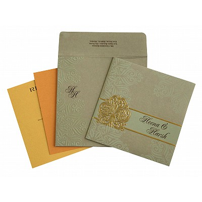 Khaki Matte Paisley Themed - Embossed Wedding Invitation : CW-1730 - IndianWeddingCards