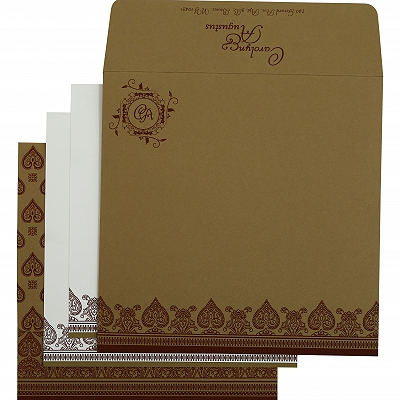Khaki Matte Screen Printed Wedding Invitation : CIN-809C - IndianWeddingCards