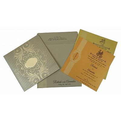 Khaki Shimmery Box Themed - Foil Stamped Wedding Invitation : CW-1782 - IndianWeddingCards