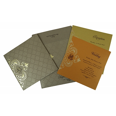 Khaki Shimmery Box Themed - Foil Stamped Wedding Invitation : CW-1791 - IndianWeddingCards