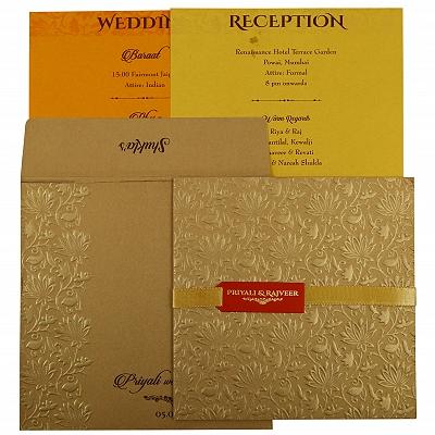 Khaki Shimmery Embossed Wedding Invitation : CW-1856 - IndianWeddingCards