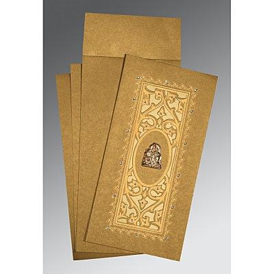Khaki Shimmery Embossed Wedding Card : CG-1440