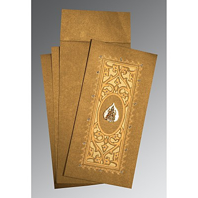 Khaki Shimmery Embossed Wedding Card : CIN-1440