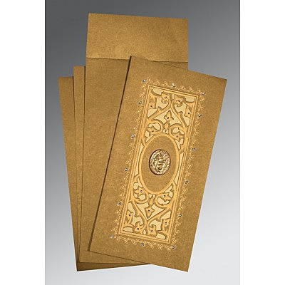 Khaki Shimmery Embossed Wedding Card : CS-1440