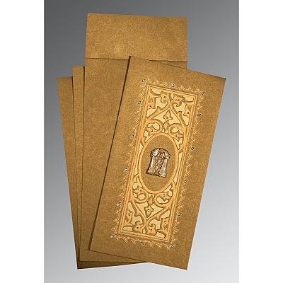 Khaki Shimmery Embossed Wedding Card : CSO-1440 - IndianWeddingCards