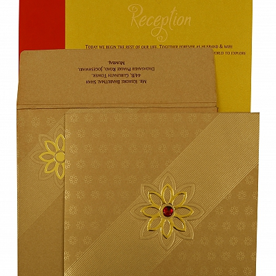 Khaki Shimmery Floral Themed - Foil Stamped Wedding Invitation : CW-1891 - IndianWeddingCards