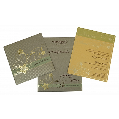 Khaki Shimmery Floral Themed - Foil Stamped Wedding Invitation : CW-1776 - IndianWeddingCards