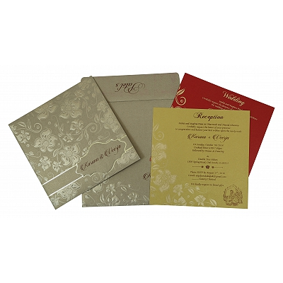 Khaki Shimmery Floral Themed - Foil Stamped Wedding Invitation : CW-1785 - IndianWeddingCards