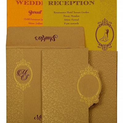 Khaki Shimmery Foil Stamped Wedding Invitation : CG-1864