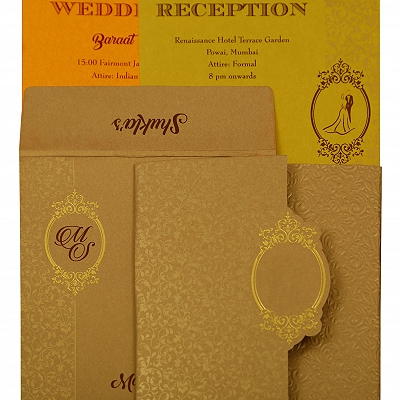 Khaki Shimmery Foil Stamped Wedding Invitation : CI-1864 - IndianWeddingCards
