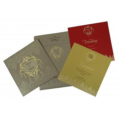 Khaki Shimmery Foil Stamped Wedding Invitation : CD-1792 - IndianWeddingCards