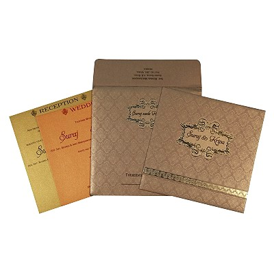 Khaki Shimmery Foil Stamped Wedding Card : CI-1713 - IndianWeddingCards