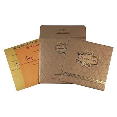 Khaki Shimmery Foil Stamped Wedding Card : CIN-1713 - IndianWeddingCards