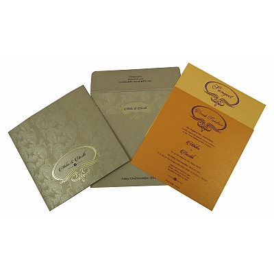Khaki Shimmery Foil Stamped Wedding Invitation : CW-1816 - IndianWeddingCards