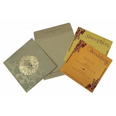 Khaki Shimmery Foil Stamped Wedding Invitation : CW-1817 - IndianWeddingCards